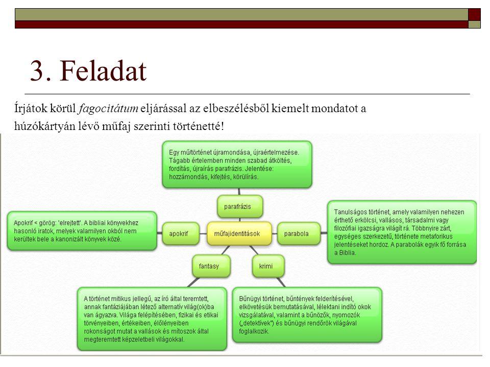 3. Feladat Írjátok körül fagocitátum eljárással az elbeszélésből kiemelt mondatot a.