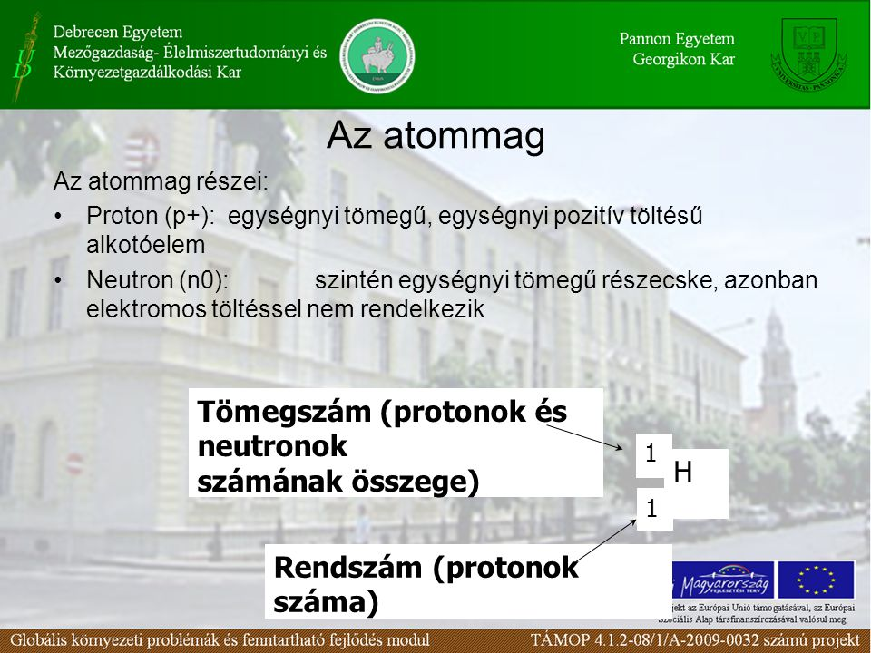 Az atommag Tömegszám (protonok és neutronok számának összege) H