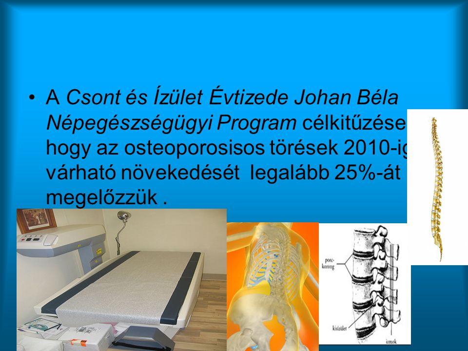 A Csont és Ízület Évtizede Johan Béla Népegészségügyi Program célkitűzése, hogy az osteoporosisos törések 2010-ig várható növekedését legalább 25%-át megelőzzük .