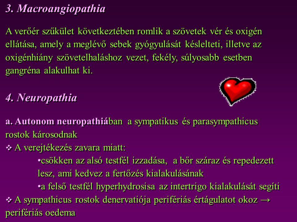 3. Macroangiopathia 4. Neuropathia