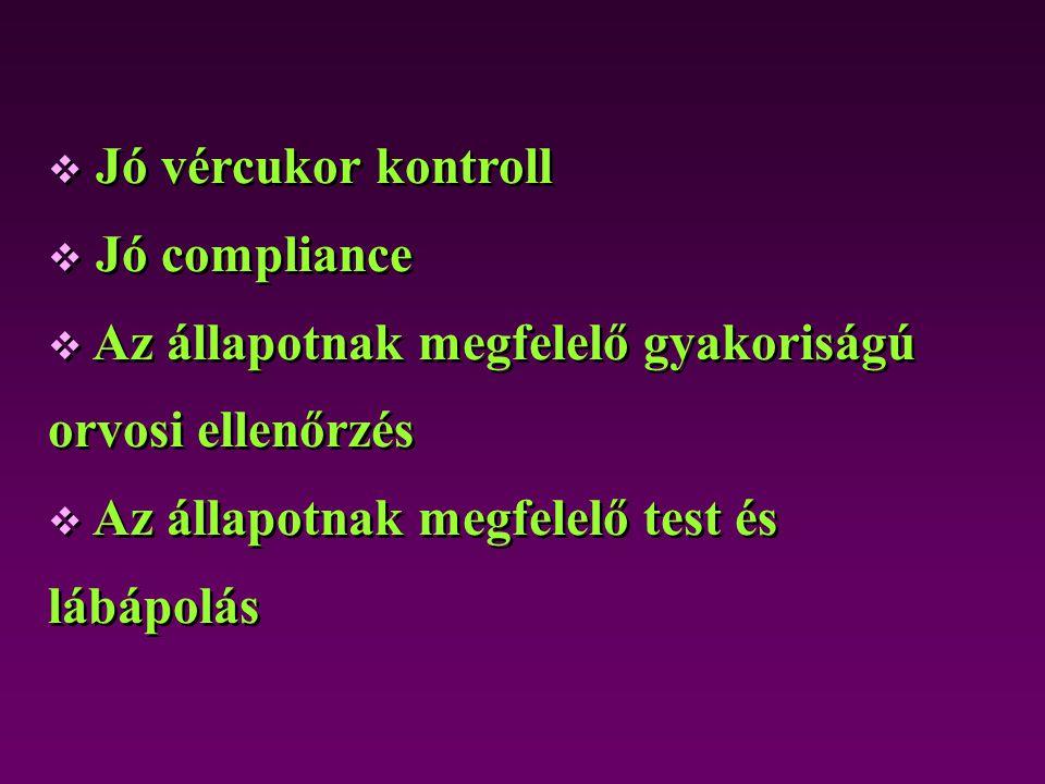 Jó vércukor kontroll Jó compliance. Az állapotnak megfelelő gyakoriságú orvosi ellenőrzés.
