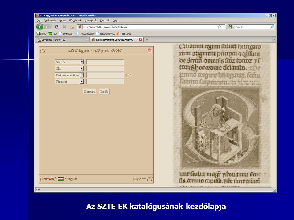 Az SZTE EK katalógusának kezdőlapja