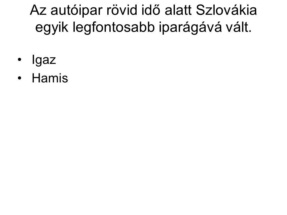 Az autóipar rövid idő alatt Szlovákia egyik legfontosabb iparágává vált.
