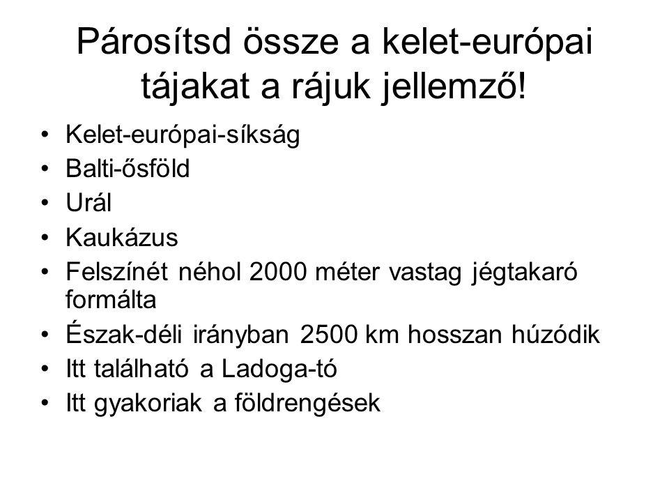 Párosítsd össze a kelet-európai tájakat a rájuk jellemző!