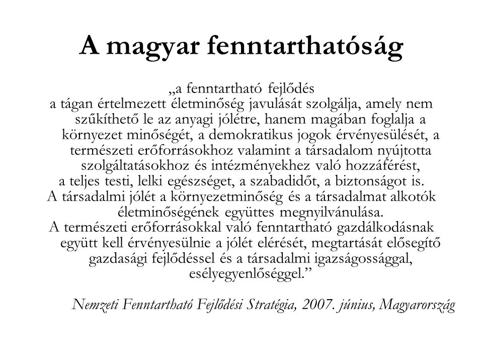 A magyar fenntarthatóság