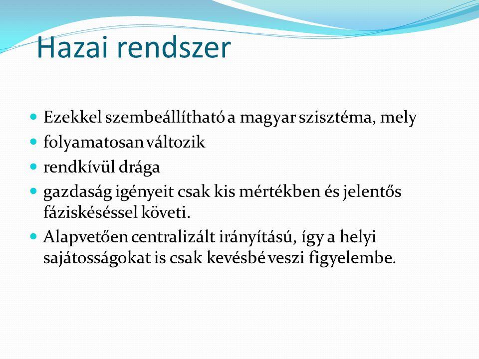 Hazai rendszer Ezekkel szembeállítható a magyar szisztéma, mely