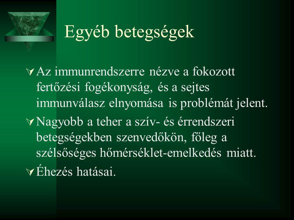 Egyéb betegségek Az immunrendszerre nézve a fokozott fertőzési fogékonyság, és a sejtes immunválasz elnyomása is problémát jelent.