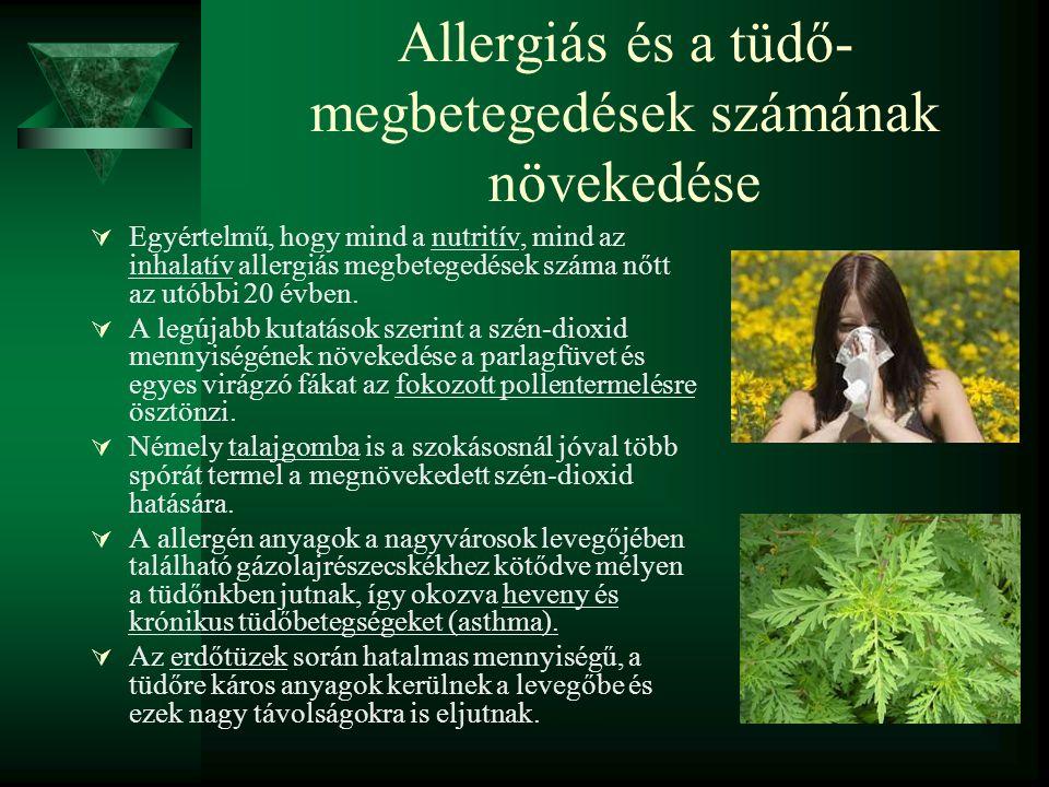 Allergiás és a tüdő- megbetegedések számának növekedése