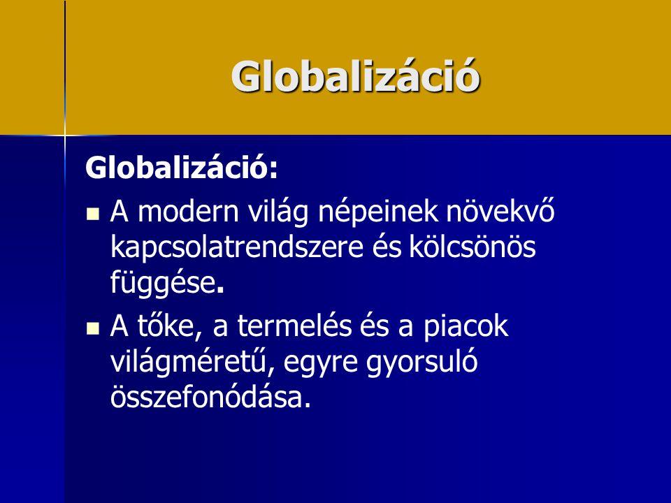 Globalizáció Globalizáció: