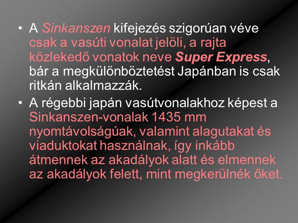A Sinkanszen kifejezés szigorúan véve csak a vasúti vonalat jelöli, a rajta közlekedő vonatok neve Super Express, bár a megkülönböztetést Japánban is csak ritkán alkalmazzák.