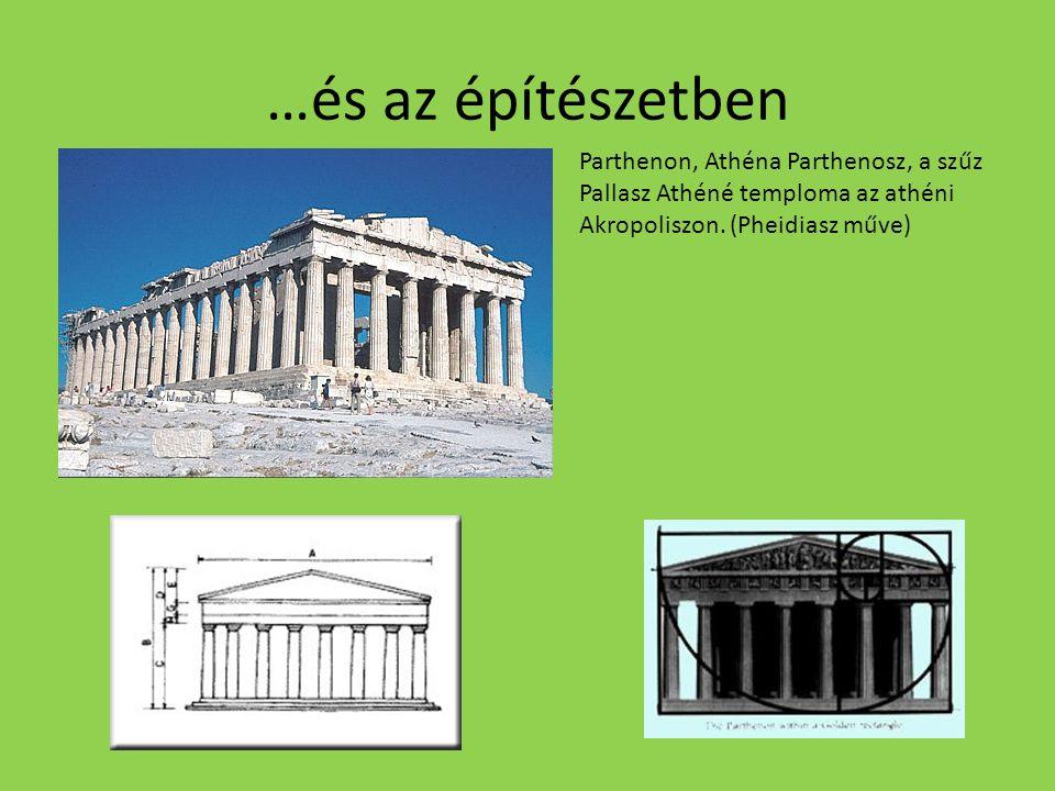 …és az építészetben Parthenon, Athéna Parthenosz, a szűz Pallasz Athéné temploma az athéni Akropoliszon.