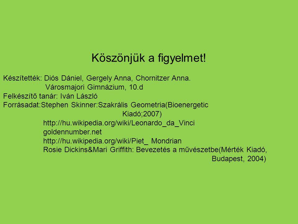Köszönjük a figyelmet! Készítették: Diós Dániel, Gergely Anna, Chornitzer Anna. Városmajori Gimnázium, 10.d.