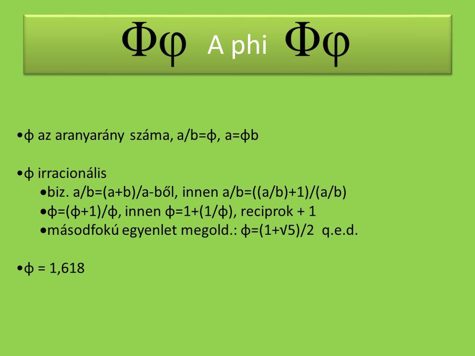 A phi φ az aranyarány száma, a/b=φ, a=φb φ irracionális