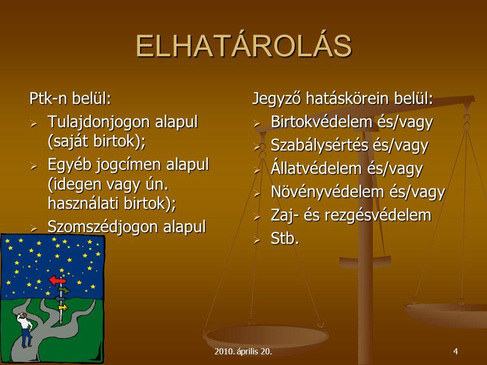 ELHATÁROLÁS Ptk-n belül: Tulajdonjogon alapul (saját birtok);