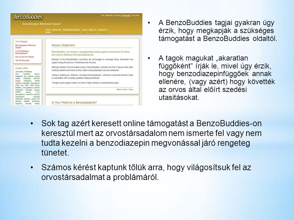A BenzoBuddies tagjai gyakran úgy érzik, hogy megkapják a szükséges támogatást a BenzoBuddies oldaltól.