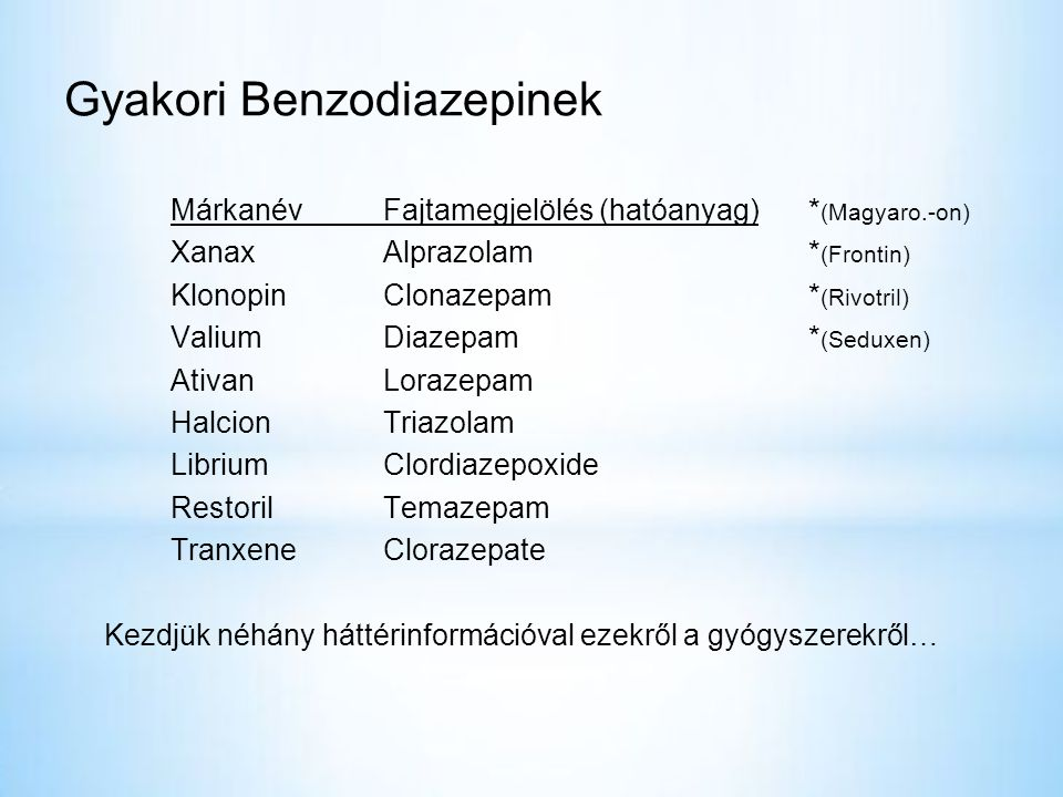 Gyakori Benzodiazepinek