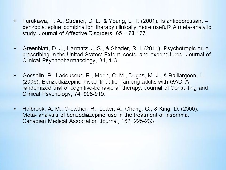 Furukawa, T. A. , Streiner, D. L. , & Young, L. T. (2001)