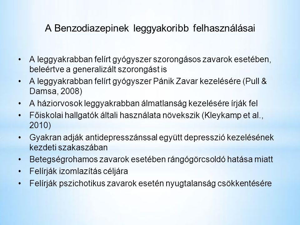 A Benzodiazepinek leggyakoribb felhasználásai