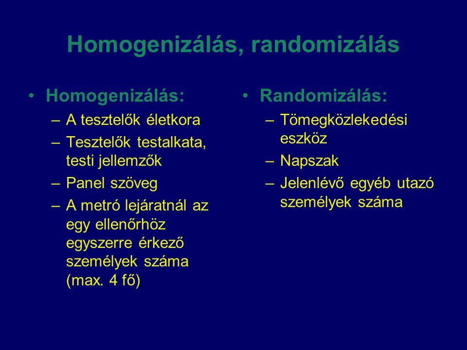 Homogenizálás, randomizálás