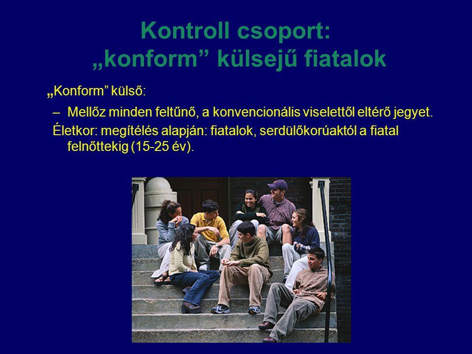 """Kontroll csoport: """"konform külsejű fiatalok"""