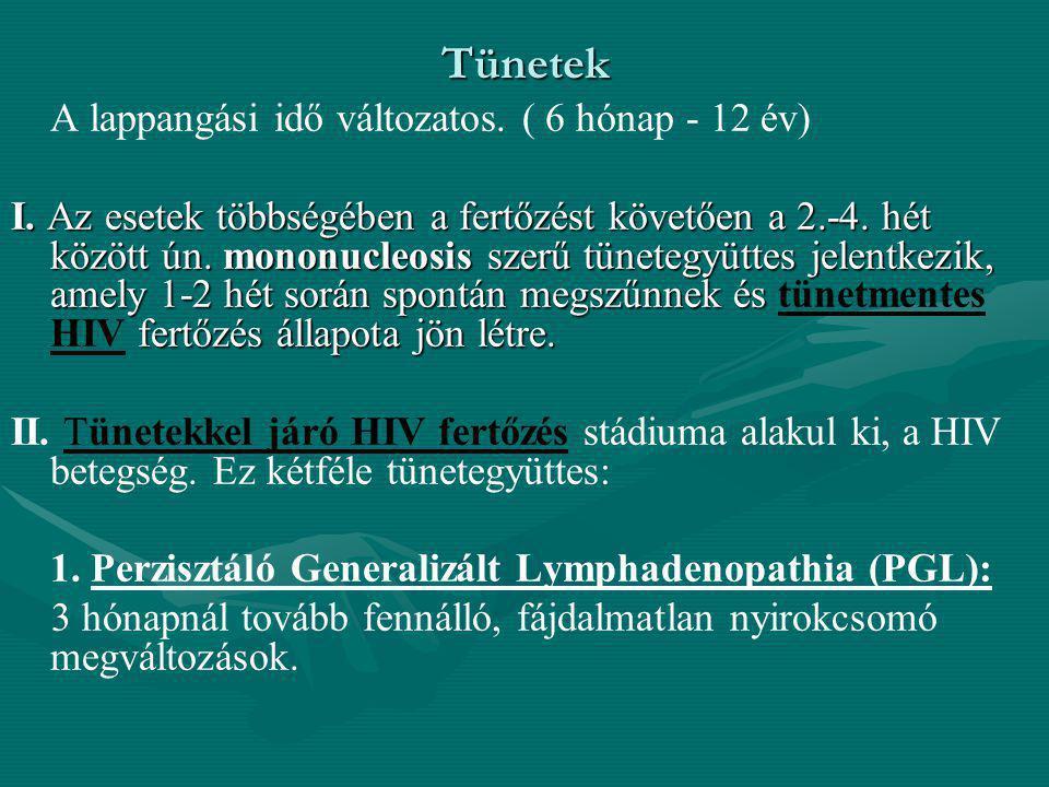 Tünetek A lappangási idő változatos. ( 6 hónap - 12 év)