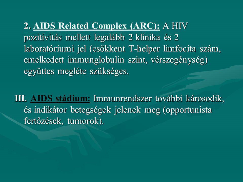 2. AIDS Related Complex (ARC): A HIV pozitivitás mellett legalább 2 klinika és 2 laboratóriumi jel (csökkent T-helper limfocita szám, emelkedett immunglobulin szint, vérszegénység) együttes megléte szükséges.