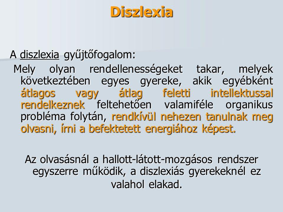 Diszlexia A diszlexia gyűjtőfogalom: