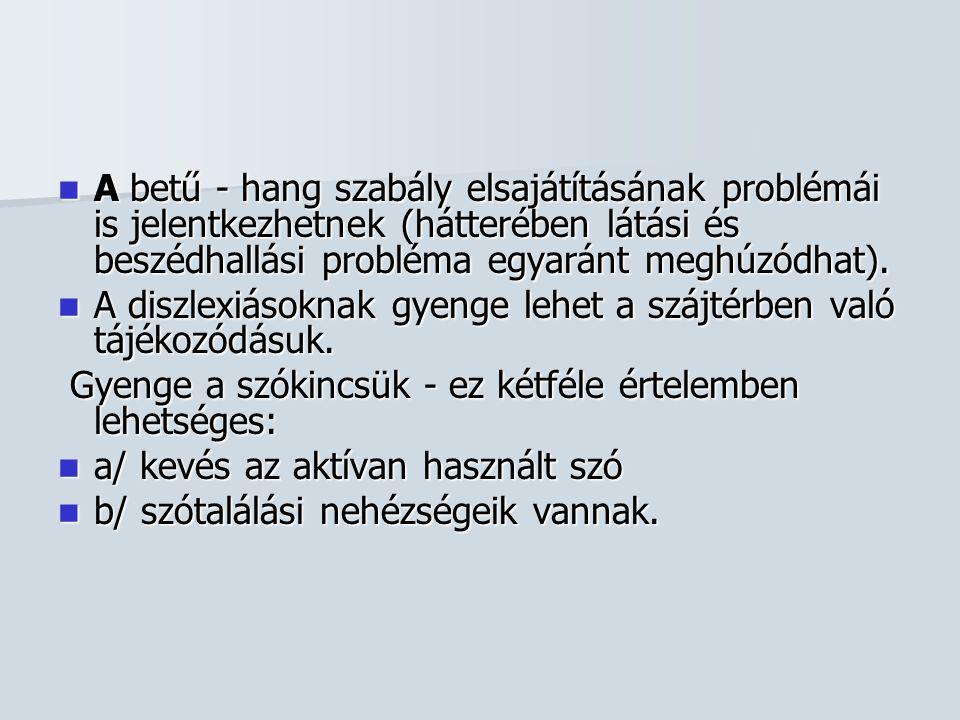 A betű - hang szabály elsajátításának problémái is jelentkezhetnek (hátterében látási és beszédhallási probléma egyaránt meghúzódhat).