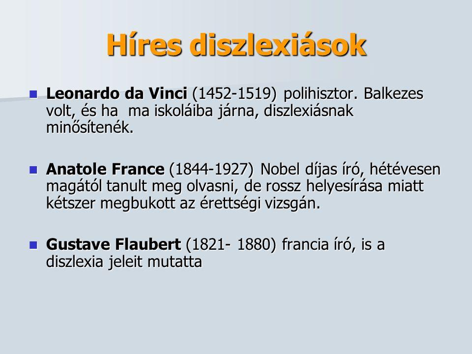 Híres diszlexiások Leonardo da Vinci (1452-1519) polihisztor. Balkezes volt, és ha ma iskoláiba járna, diszlexiásnak minősítenék.