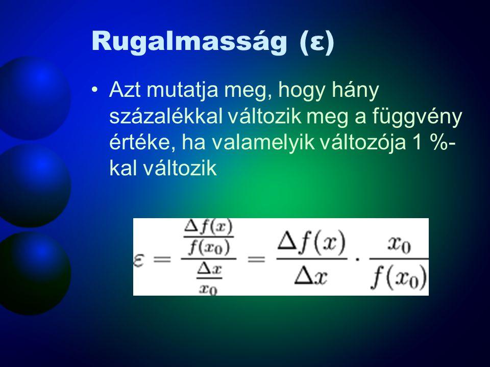 Rugalmasság (ε) Azt mutatja meg, hogy hány százalékkal változik meg a függvény értéke, ha valamelyik változója 1 %-kal változik.