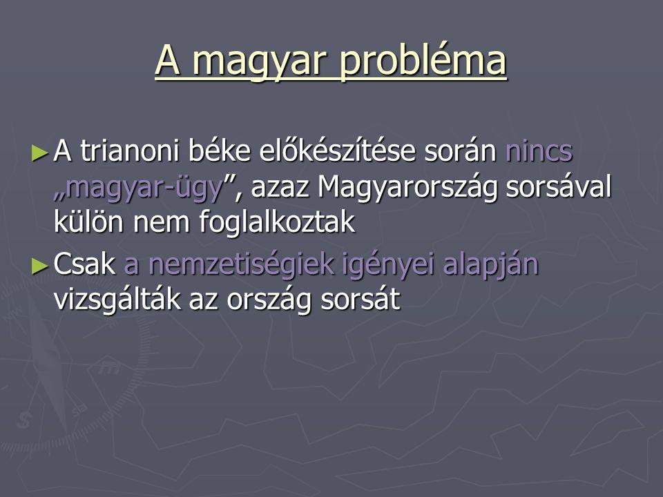 """A magyar probléma A trianoni béke előkészítése során nincs """"magyar-ügy , azaz Magyarország sorsával külön nem foglalkoztak."""