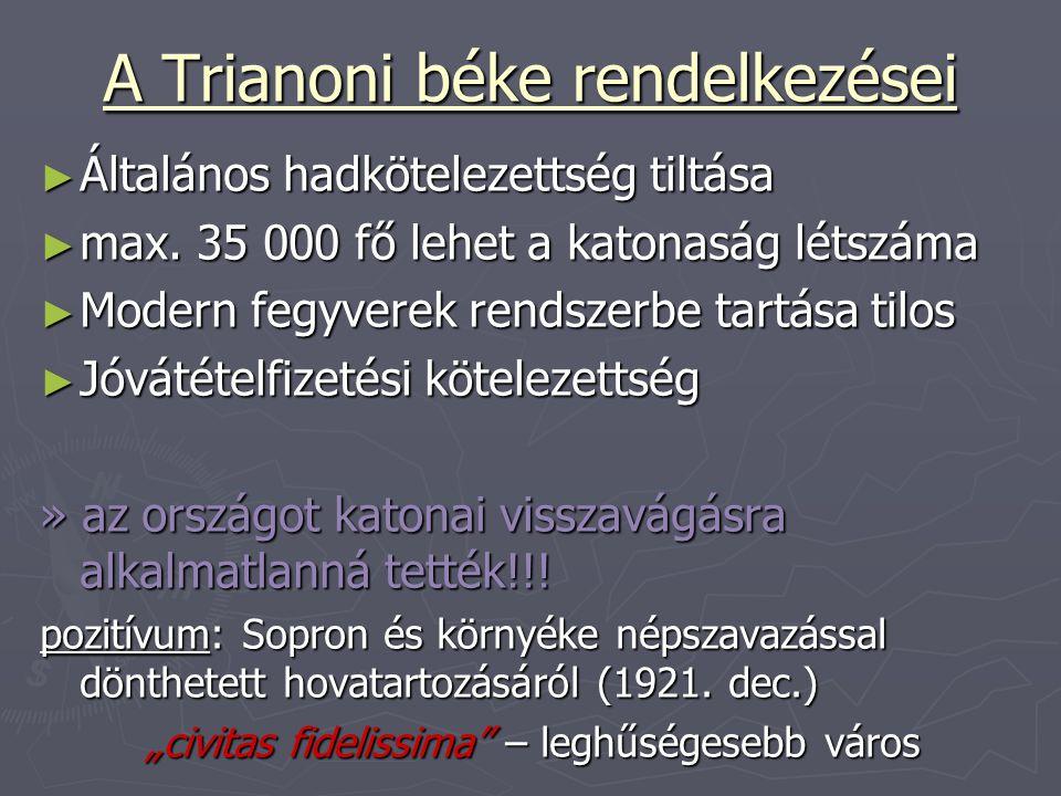 A Trianoni béke rendelkezései