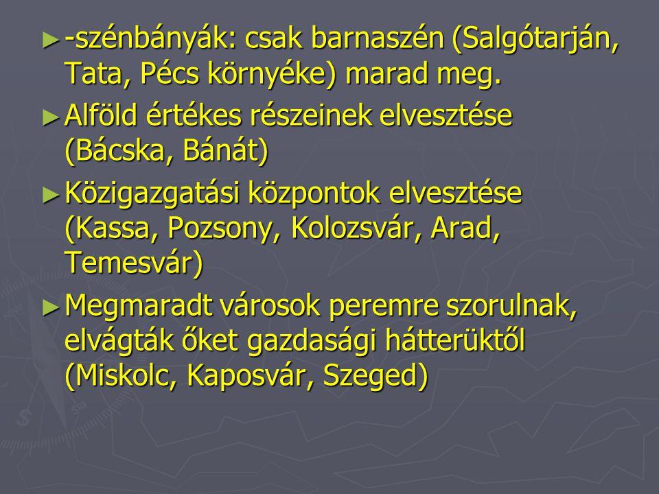 -szénbányák: csak barnaszén (Salgótarján, Tata, Pécs környéke) marad meg.