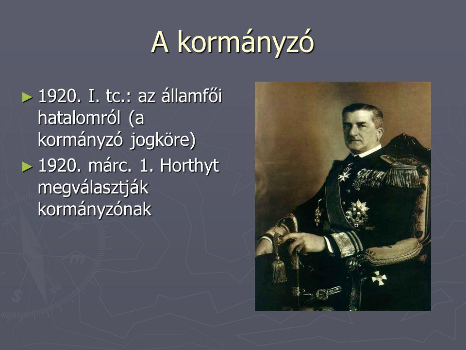 A kormányzó 1920. I. tc.: az államfői hatalomról (a kormányzó jogköre)