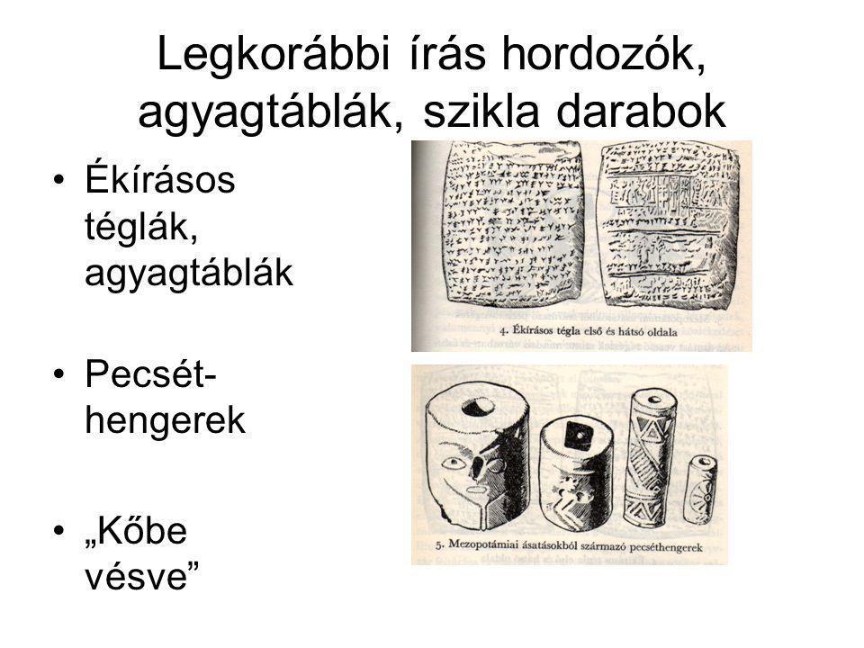 Legkorábbi írás hordozók, agyagtáblák, szikla darabok