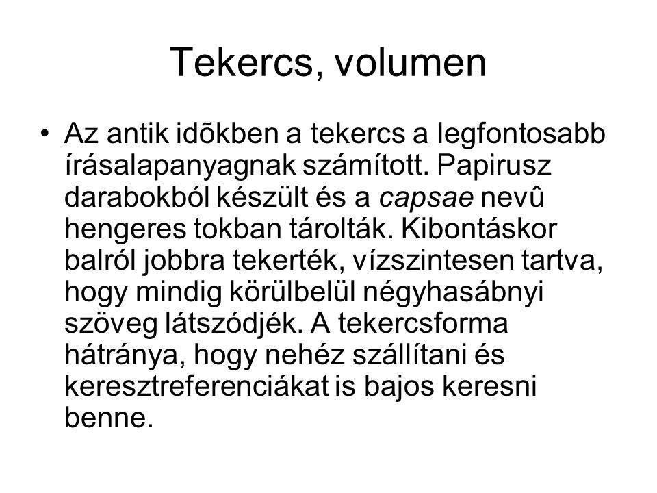 Tekercs, volumen