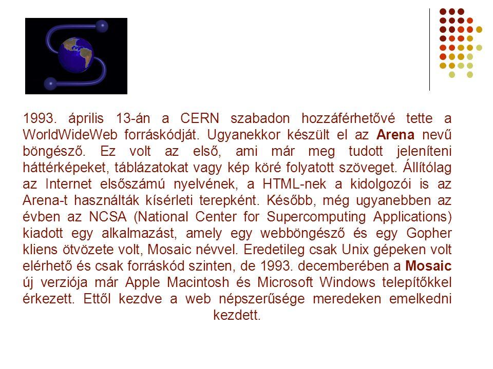 1993. április 13-án a CERN szabadon hozzáférhetővé tette a WorldWideWeb forráskódját.
