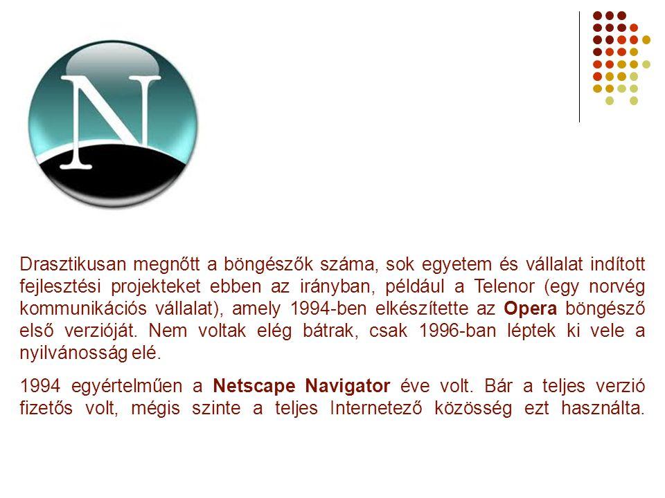 Drasztikusan megnőtt a böngészők száma, sok egyetem és vállalat indított fejlesztési projekteket ebben az irányban, például a Telenor (egy norvég kommunikációs vállalat), amely 1994-ben elkészítette az Opera böngésző első verzióját. Nem voltak elég bátrak, csak 1996-ban léptek ki vele a nyilvánosság elé.