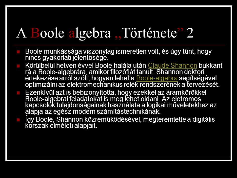 """A Boole algebra """"Története 2"""