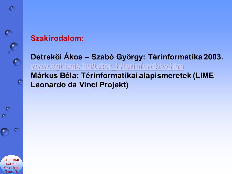 Szakirodalom: Detrekői Ákos – Szabó György: Térinformatika 2003. www.agt.bme.hu/tutor_h/terinfor/tbev.htm.