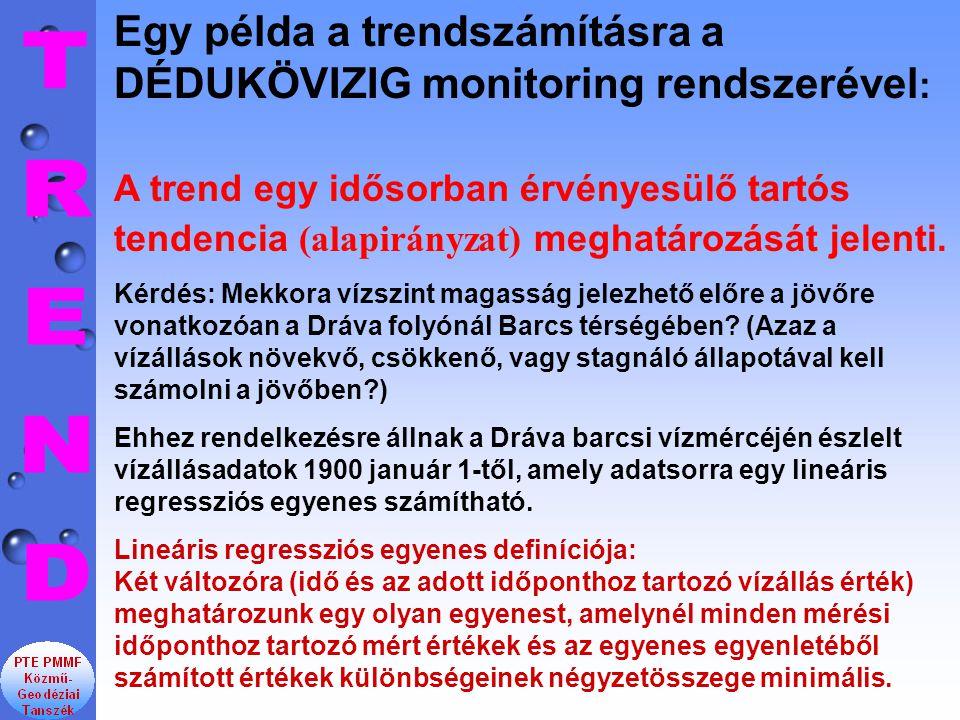 Egy példa a trendszámításra a DÉDUKÖVIZIG monitoring rendszerével: