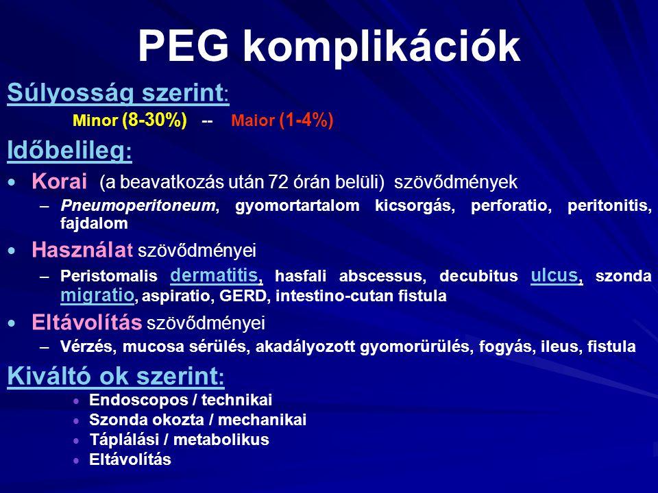 PEG komplikációk Súlyosság szerint: Időbelileg: Kiváltó ok szerint: