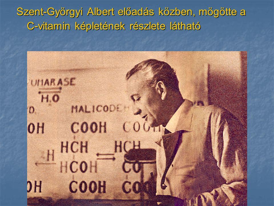 Szent-Györgyi Albert előadás közben, mögötte a C-vitamin képletének részlete látható