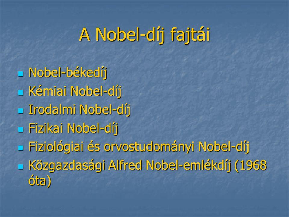 A Nobel-díj fajtái Nobel-békedíj Kémiai Nobel-díj Irodalmi Nobel-díj