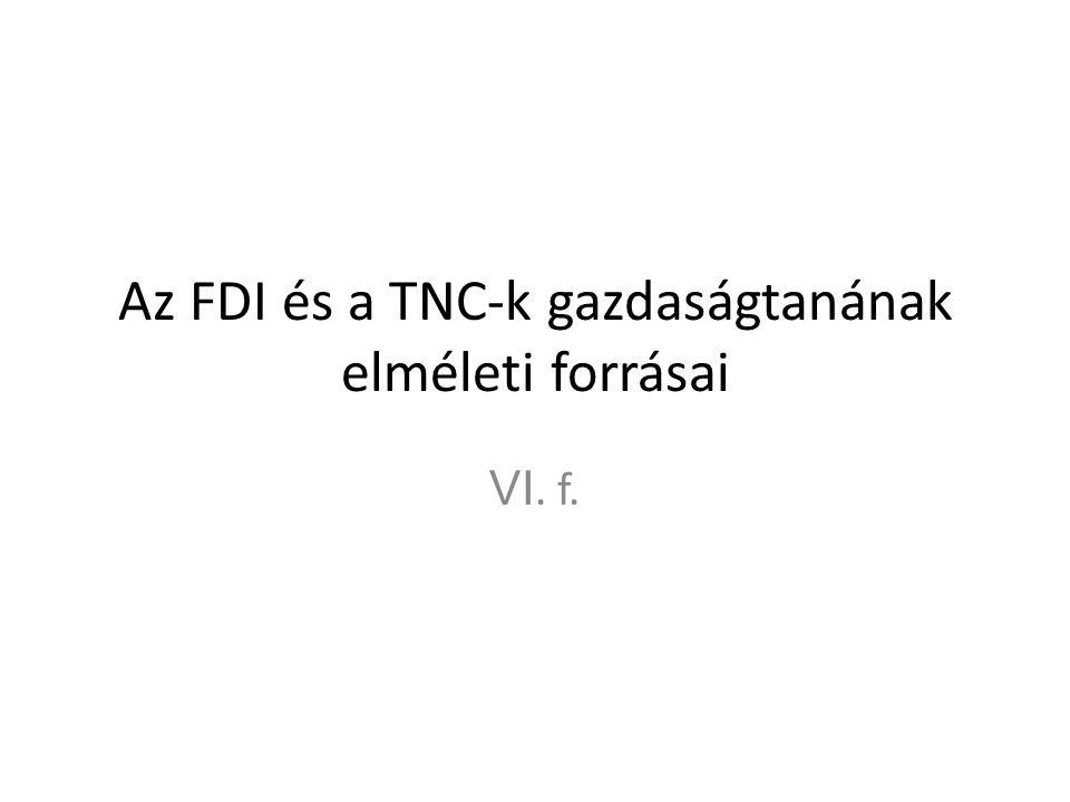 Az FDI és a TNC-k gazdaságtanának elméleti forrásai