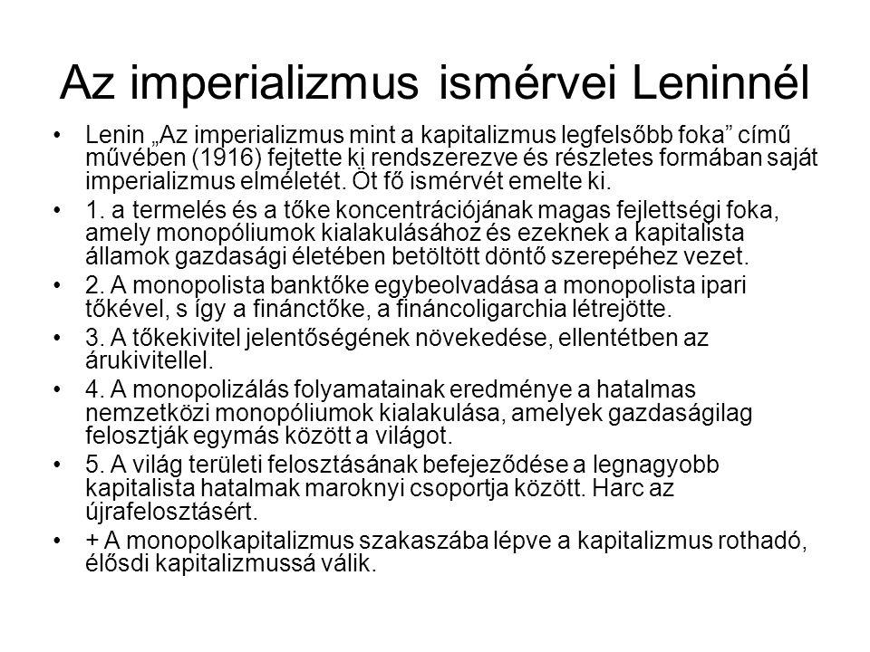 Az imperializmus ismérvei Leninnél