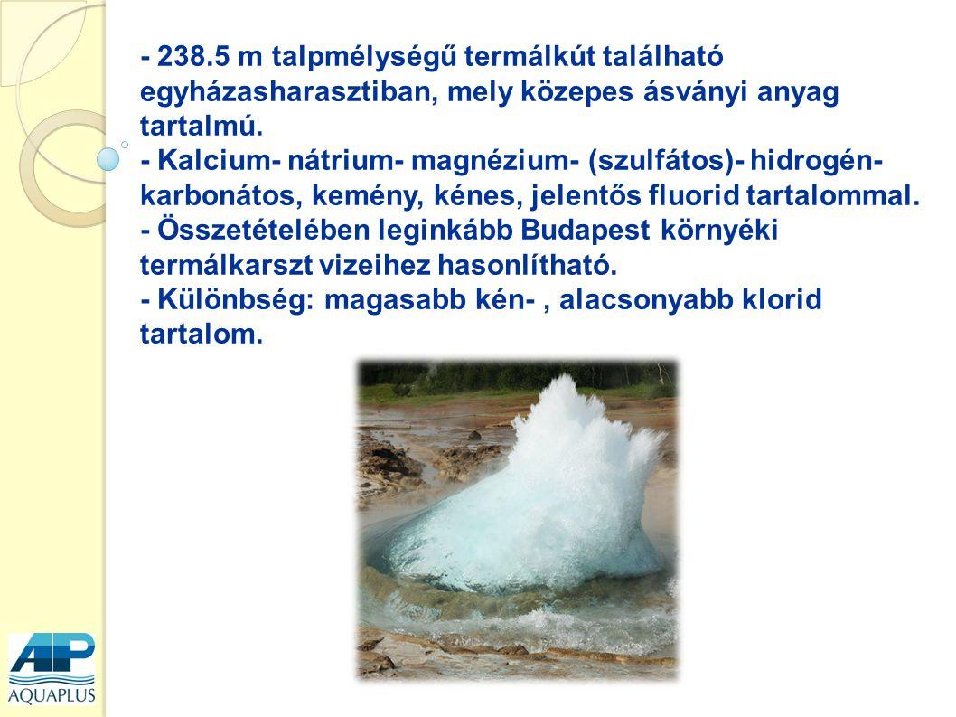 - 238.5 m talpmélységű termálkút található egyházasharasztiban, mely közepes ásványi anyag tartalmú.