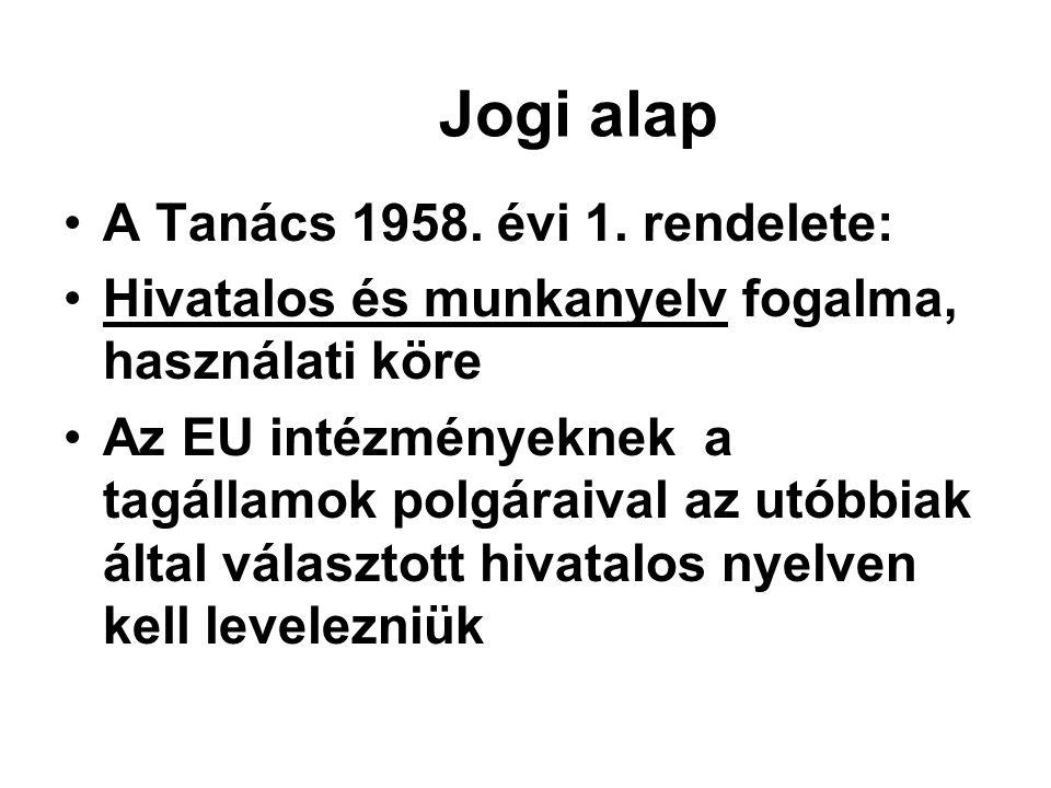 Jogi alap A Tanács 1958. évi 1. rendelete: