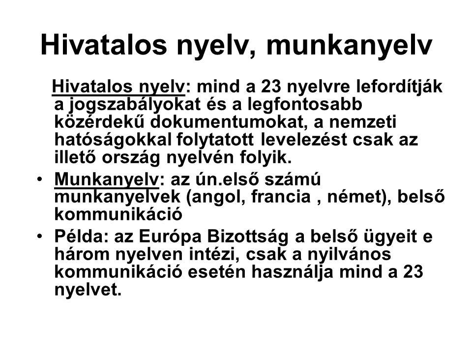 Hivatalos nyelv, munkanyelv