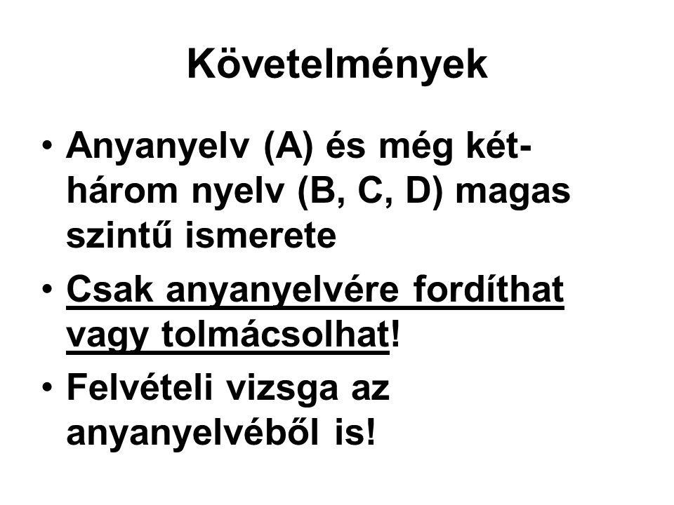 Követelmények Anyanyelv (A) és még két-három nyelv (B, C, D) magas szintű ismerete. Csak anyanyelvére fordíthat vagy tolmácsolhat!